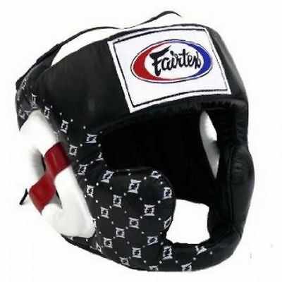Fairtex Hg10 Black Super Sparring Coverage Head Muay Thai Kick Boxing Headguard