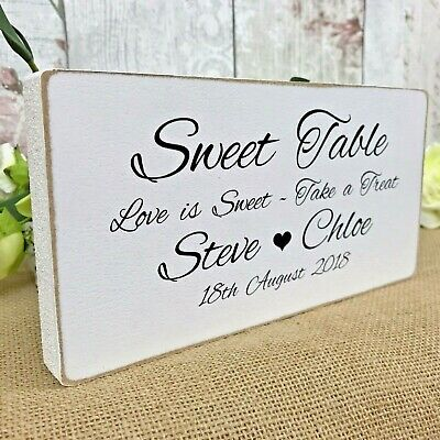 Personalised Sweet Table Sign Shabby Wooden Wedding Free Standing Vintage