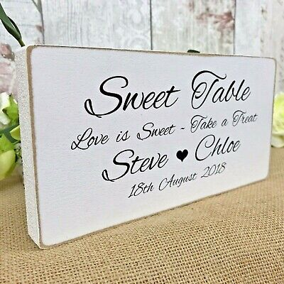 Sweet Table Sign Personalised Rustic Wooden Wedding Table Decoration
