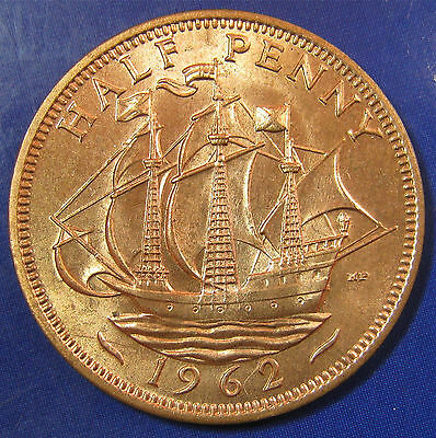 1962 ½d Elizabeth II Halfpenny - Uncirculated and lustrous