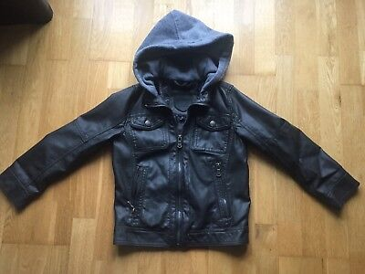 Urban Republic Boys Faux Leather Jacket Size 7 Brown Excellent Condition Hood