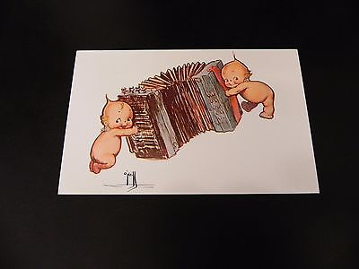 Kewpie Doll Playing Accordian Postcard 1976 O'Neill Cute Music Squeeze Box
