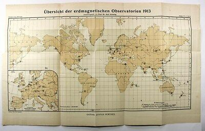 1913 MAP-GLOBAL GEOMAGNETIC OBSERVATION STATIONS-geology,cartography
