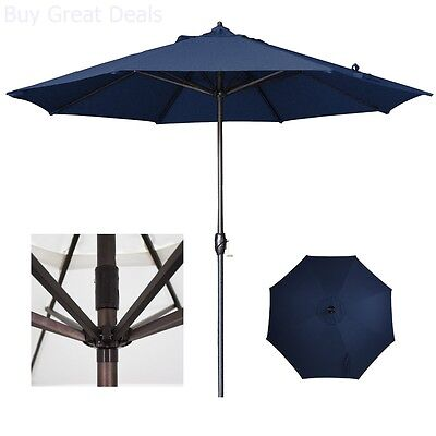 California Umbrella Patio Umbrella Aluminum Auto Tilt In Navy Blue Olefin 9  Ft