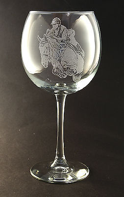 New Etched Equestrian on Large Elegant Wine Glasses