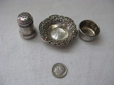 Antique Small Sterling Silver Pepper Shaker & Salt Dish with Repousse Bowl