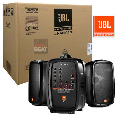 JBL EON 206P Portable PA System with Powered Speakers Set + Mixer 632709973219