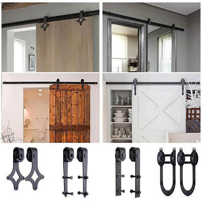 Top Selling 6.6FT Sliding Door Hardware Antique Barn Door Rollers Wood Track Kit