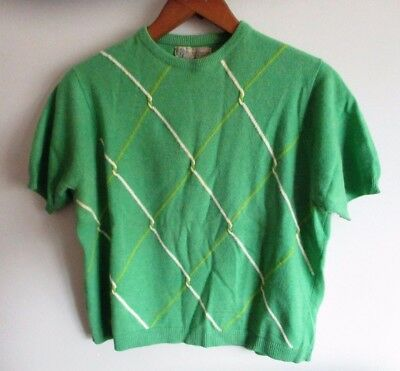 Vintage 1950's 1960's Green Cashmere Pinup Sweater Ballantyne Short Sleeve Crop