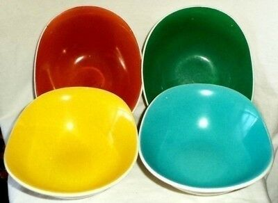 Grindley Oblong Nut Dishes (4) Burnt Orange Turquoise Yellow Green