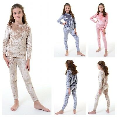 Kids Girls Velour Tracksuit Top &Bottom Set Velvet Loungewear Co Ord Lounge Suit