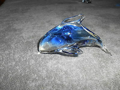 Art Glass Jumping Dolphin Figurine Paperweight
