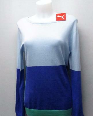 New Ladies LARGE PUMA GOLF Colour Block knit long sleeve golf sweater