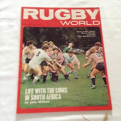 rugbyunion rugby world magazine for feb 1974featuring life with thelions in s. a