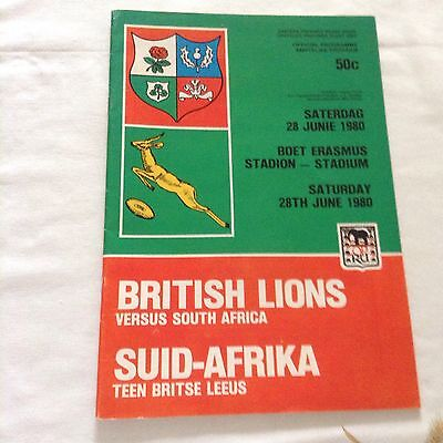 rugby union programme south africa v british lions on 28th june 1980