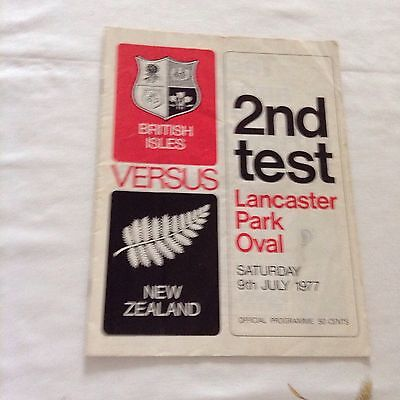 rugby union programme 2nd test new zealand v british lions 9th july 1977