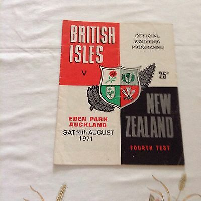 rugby union programme british isles v new zealand at eden park 14th august 1971