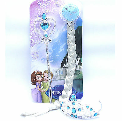 Disney Frozen Elsa Anna Costume Dress Up Tiara/Crown & Wig(Hair Piece)& Wand Set