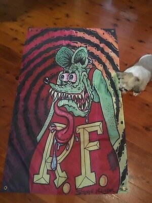 5x3 foot RAT FINK BIKER Man cave pool room flags wall hangings Harley davidson