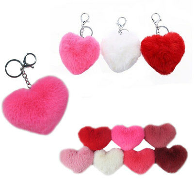 12pc Heart Love Key Ring Chain Pompom Valentine Ball Faux Rabbit Fur Fluffy Lot