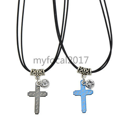 Couple Corss Necklace Pendant Black Leather Strap Jewellery Gift Stainless Steel