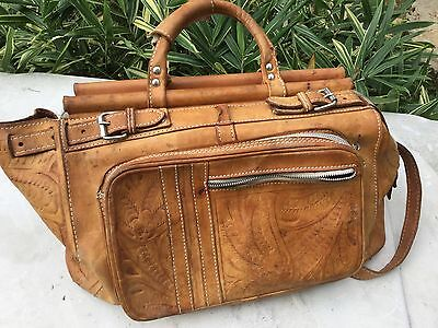 Vintage Leather Carry Bag Case Luggage