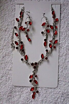 jewelry set Ruby Red crystal  necklace earrings silver tone