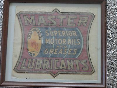 Rare Master Lubricants Co Superior Motor Oils And Greases 1924 Petroleum Decal