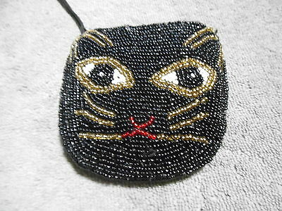 Black Cat  Beaded Coin Purse