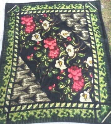 """Antique Chase Amish Horse Buggy Sleigh Lap Blanket Floral Print Mohair 48""""x60"""""""