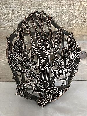 Vintage Batik Floral Print Block Copper and Metal