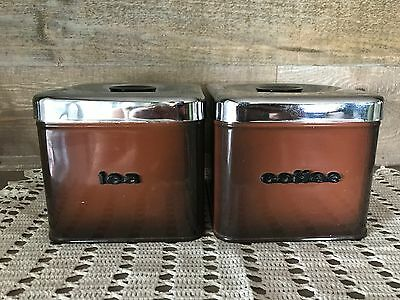 Vintage Metal Coffee and Tea Canister Set Made in Canada
