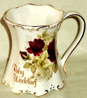 Ruby Wedding Anniversary Pitcher Red Roses Embossed Gold Trim Made in England