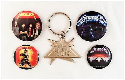 Metallica 80's Lot Of 4 Buttons & Member Club Key Chain / Master Of Puppets