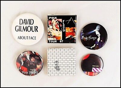 Pink Floyd David Gilmour Lot Of 6 80's Buttons Pins The Wall / About Face Promo