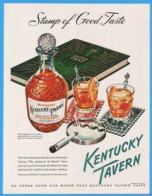 1948 Kentucky Tavern Whiskey Stamp Collecting Art Cigarette Holder Cocktails Ad
