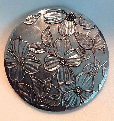 "Wendell August Forge Aluminum Dogwood Mirror 3"" Diameter with Pouch"
