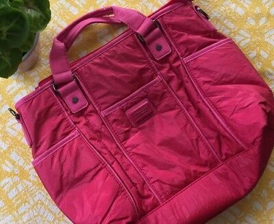 Vintage Fuchsia United Colours Of Benetton Ladies Crinkle Bag Purse Hot Pink