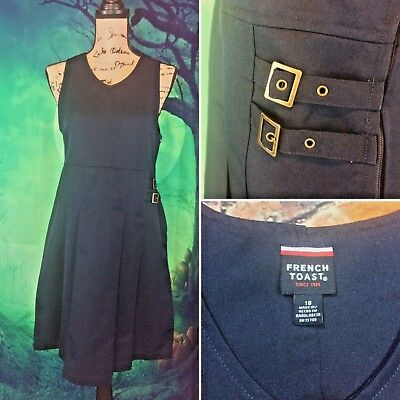 French Toast Girls Blue School Girl Style Dress With Buckles sz 18 side zip