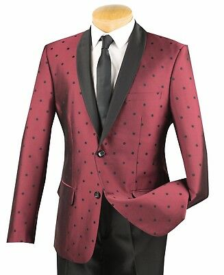 Men's Burgundy Polka Dot 1 Button Slim-Fit Tuxedo Suit w/ Satin Shawl Lapel NEW