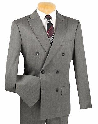 Men's Charcoal Herringbone Stripe Double Breasted 6 Button Slim-Fit Suit NEW