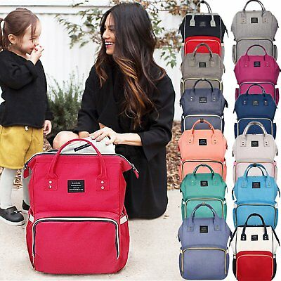 New Fashion Large Mummy Maternity Nappy Diaper Bag Baby Bag Travel Backpack AU