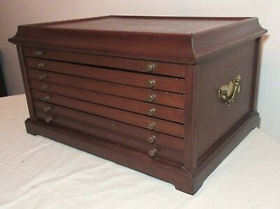 LARGE vintage mahogany wood brass coin collector display drawer box show case