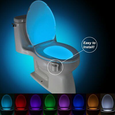 Toilet Bathroom Night Light People Motion Activated Seat Sensor Lamp 8Color DS