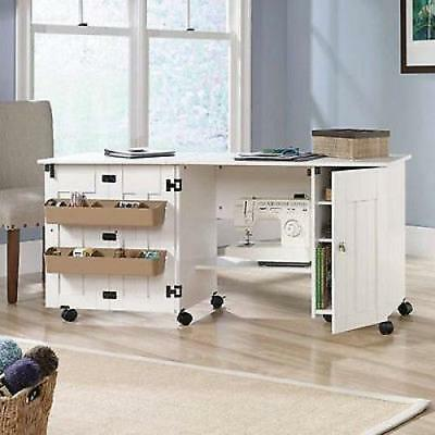 Sewing Table With Storage Craft Desk Drop Leaf Cabinet Shelf Sew Work White