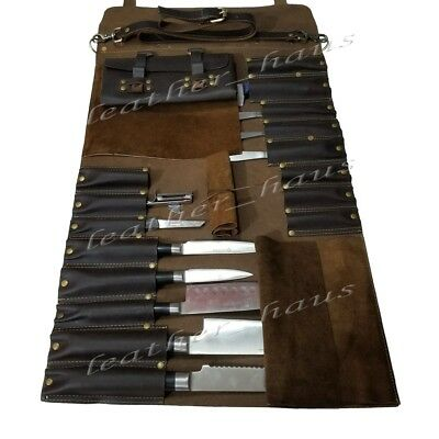 Lightweight Premium Genuine Leather 16 Pockets Dark Brown Chef Knife Bag / Roll