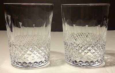 2 Vintage Waterford Crystal Colleen Double Old Fashioned 12 Ounce Glasses 4 3/8""