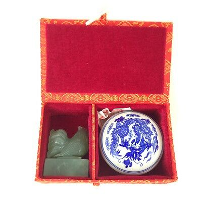Carved ROOSTER Chinese Jade Soapstone Seal Stamp Porcelain Pot Gift Box Set