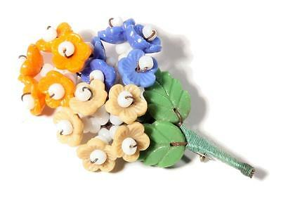 Vintage Deco Czech Art Glass Flower rondelle beaded bouquet leaf pin brooch