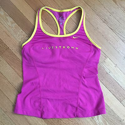 Nike Dri Fit Livestrong Racerback Pink Yellow Sports Bra Tank Top Women's Small